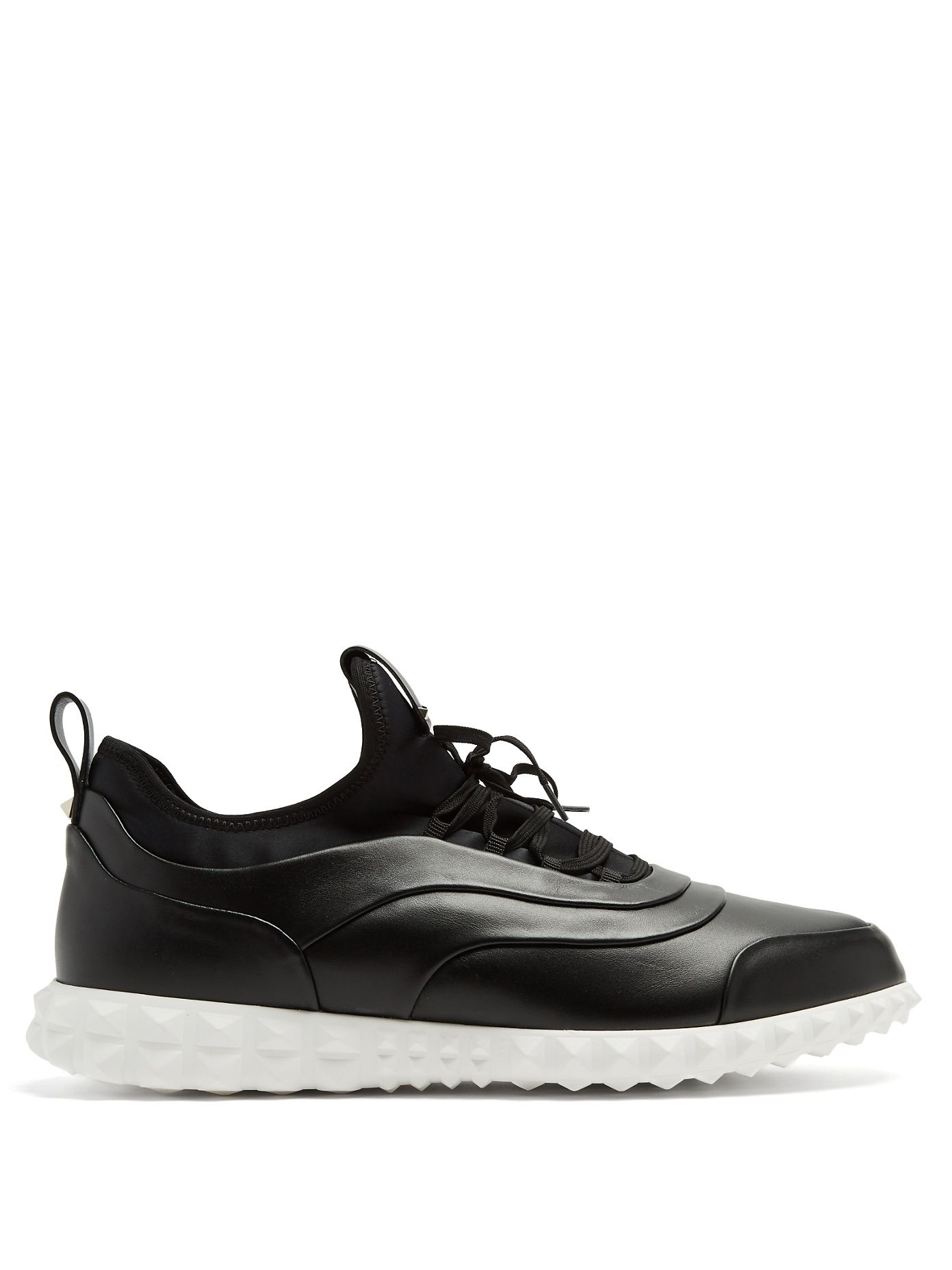 Low-top leather and neoprene trainers Valentino Clearance L0seqYxy
