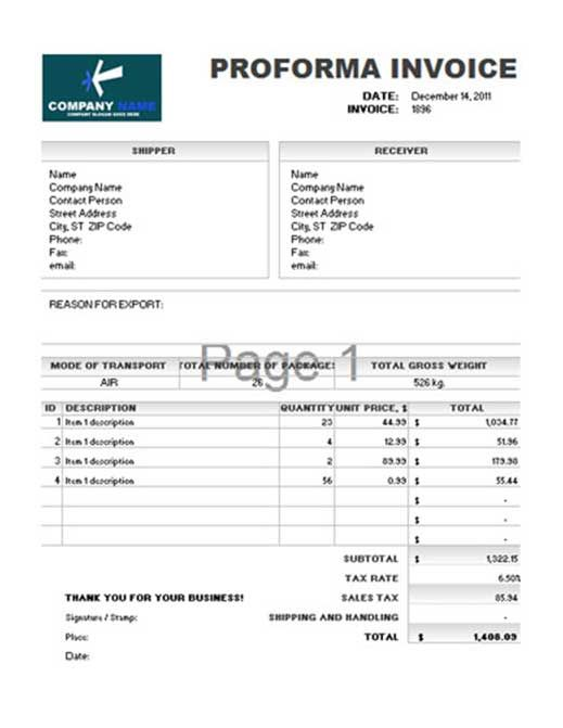 are you looking for the free proforma invoice tempelates online