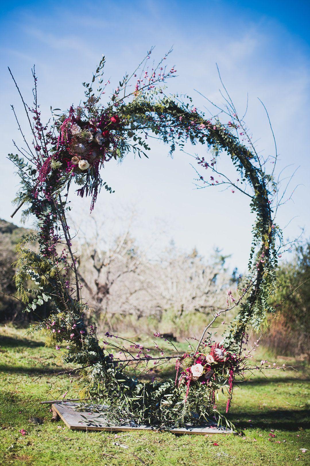 Unique Circular Wedding Arbor Outdoor California Wedding Ceremony Red And Purple Florals Foll Summer Wedding Outdoor Wedding Arch California Outdoor Wedding