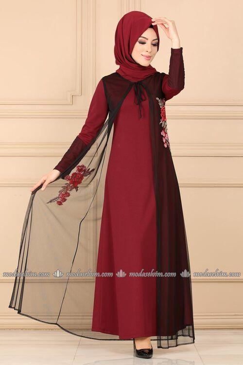 Modaselvim Elbise Tul Yelekli Elbise 3022pm271 Bordo Moda Stilleri Elbise Elbise Modelleri