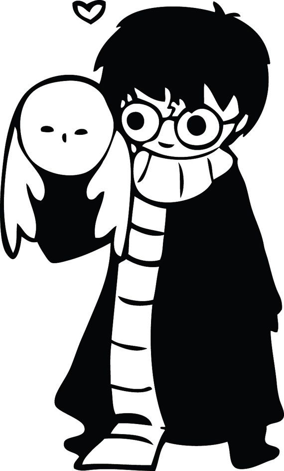 Cute Hand Drawn Harry Potter with Hedwig owl decal sticker ...