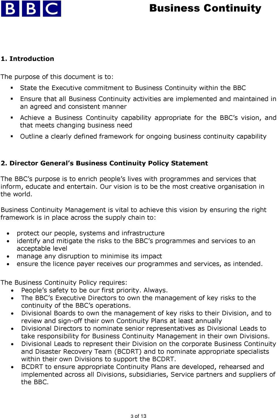 The excellent Business Continuity Management Policy Pdf