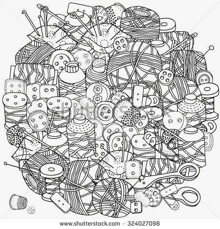 sissor zentangles   Circle pattern for coloring book. Clothes ...