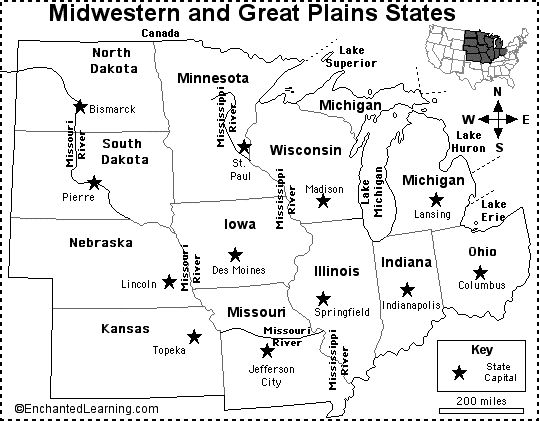 Midwest Map Of Capitals Badgermania Us States States - Map-of-us-midwest-states