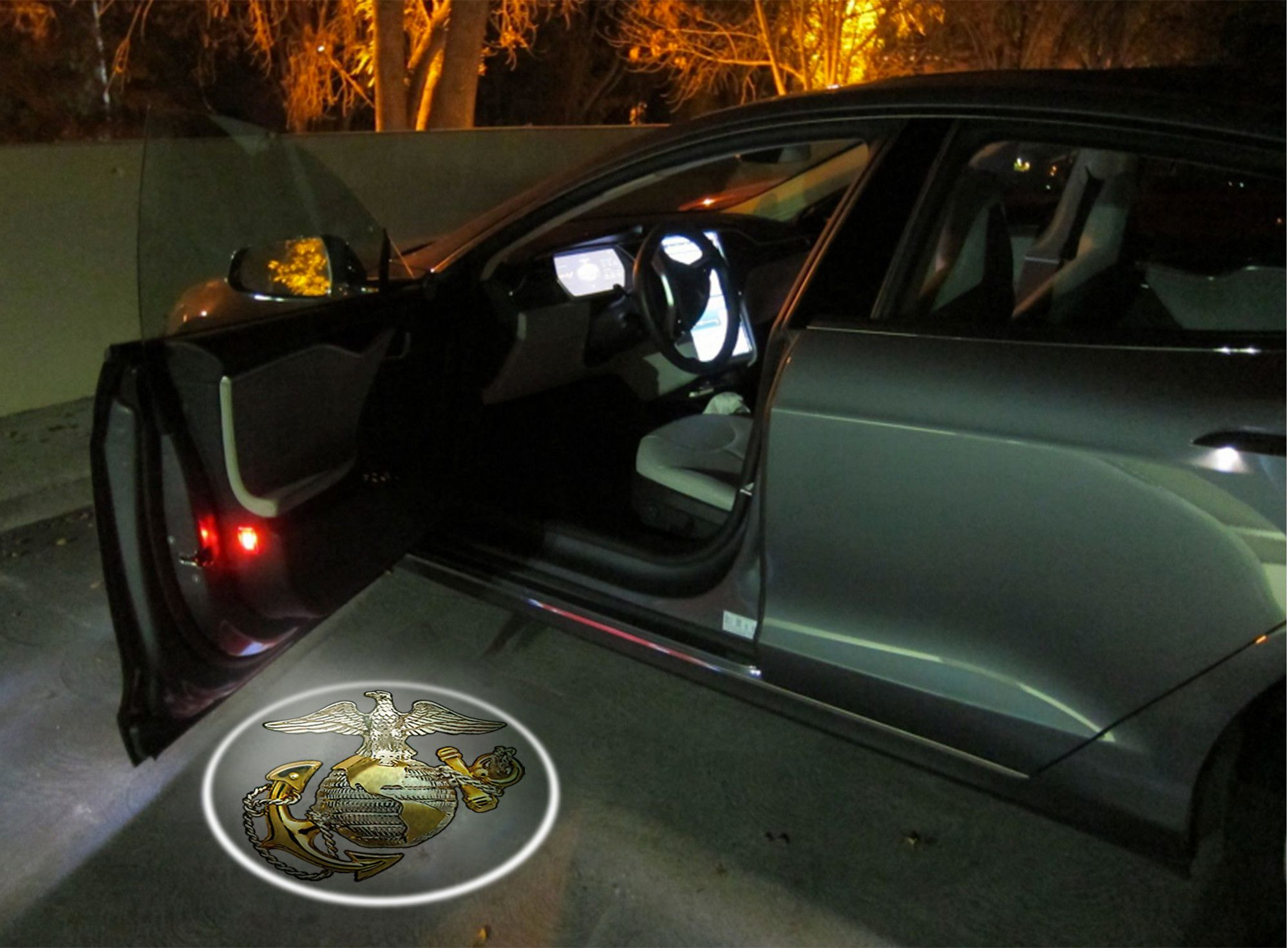 2 Usmc Globe Wireless Led Car Door Welcome Light Car Door Lighting Logo Led Projector Lights