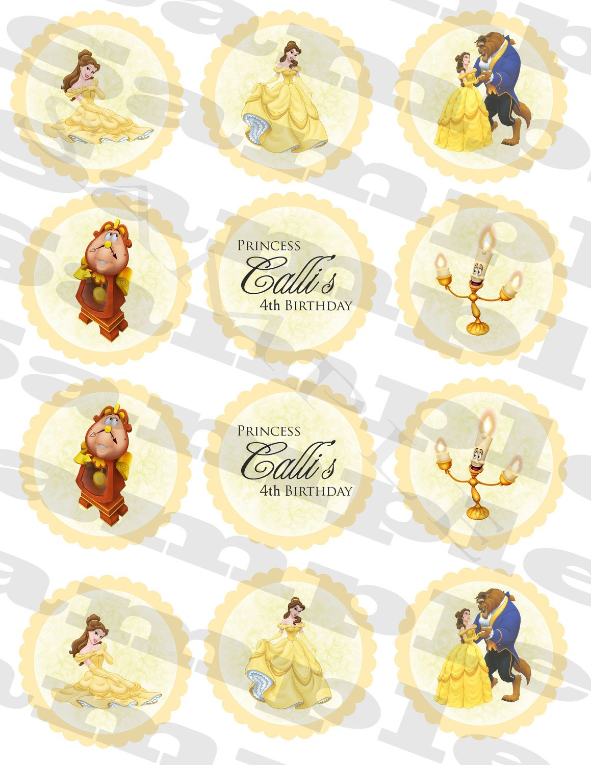belle beauty /& the beast PRINCESS CHILDREN/'S PERSONALIZED BIRTHDAY BADGE