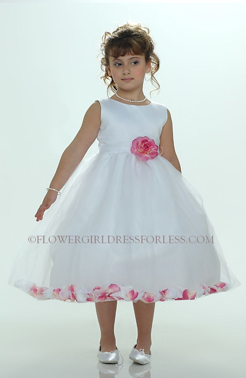 Flower girl petal dress white or ivory sleeveless satin and tulle flower girl petal dress white or ivory sleeveless satin and tulle petal dress with hot pink petals see all dresses flower girl dress for less mightylinksfo Gallery