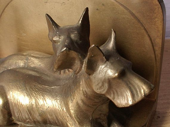 scottie dog bookend doorstop, Frankart, 1920s, 1930s, vintage brass, kitsch   sold $$$???