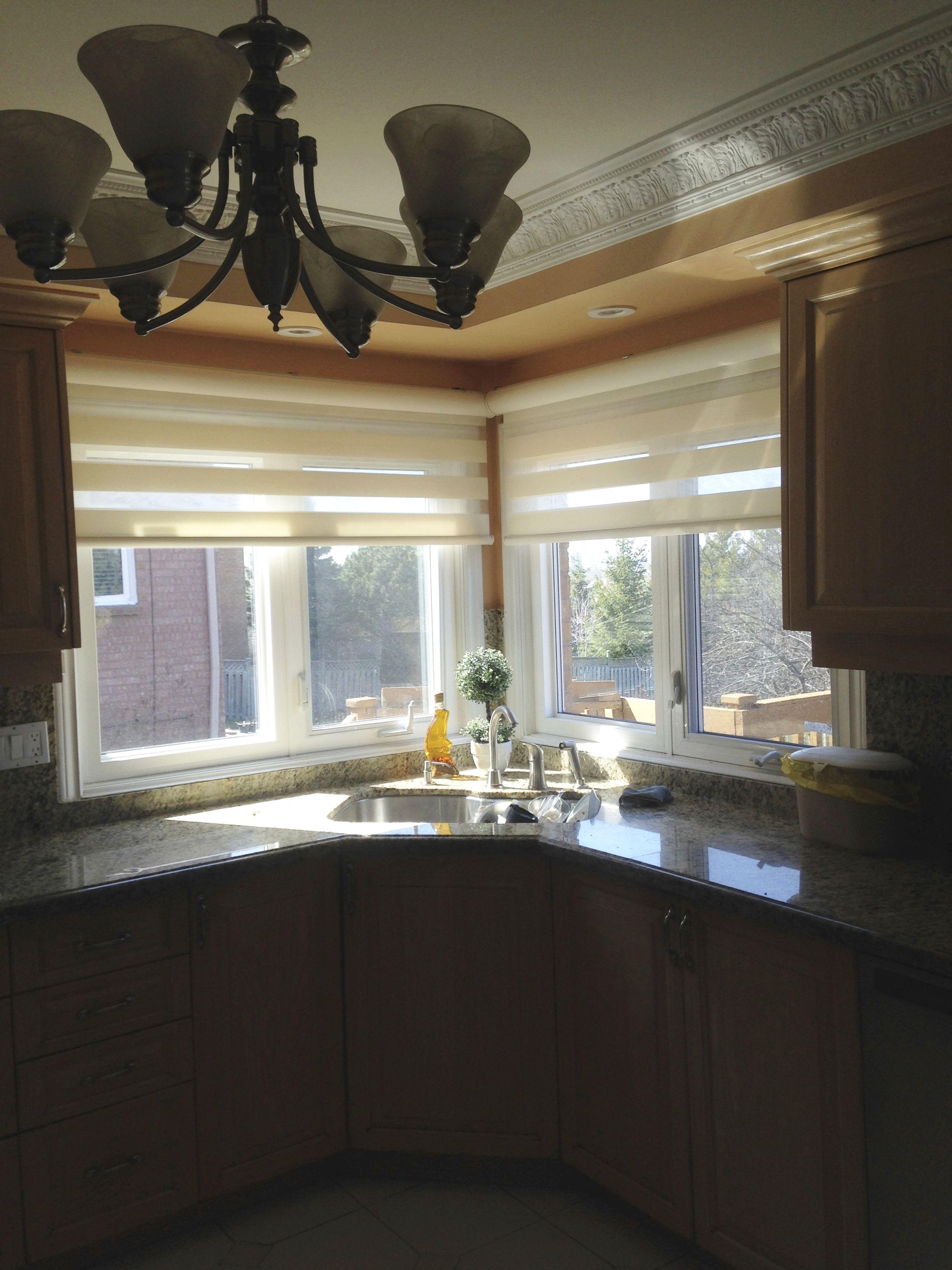 Corner Window In Kitchen Over The Sink With Combi Blinds Sliding Door Window Coverings Sliding Patio Doors Blinds