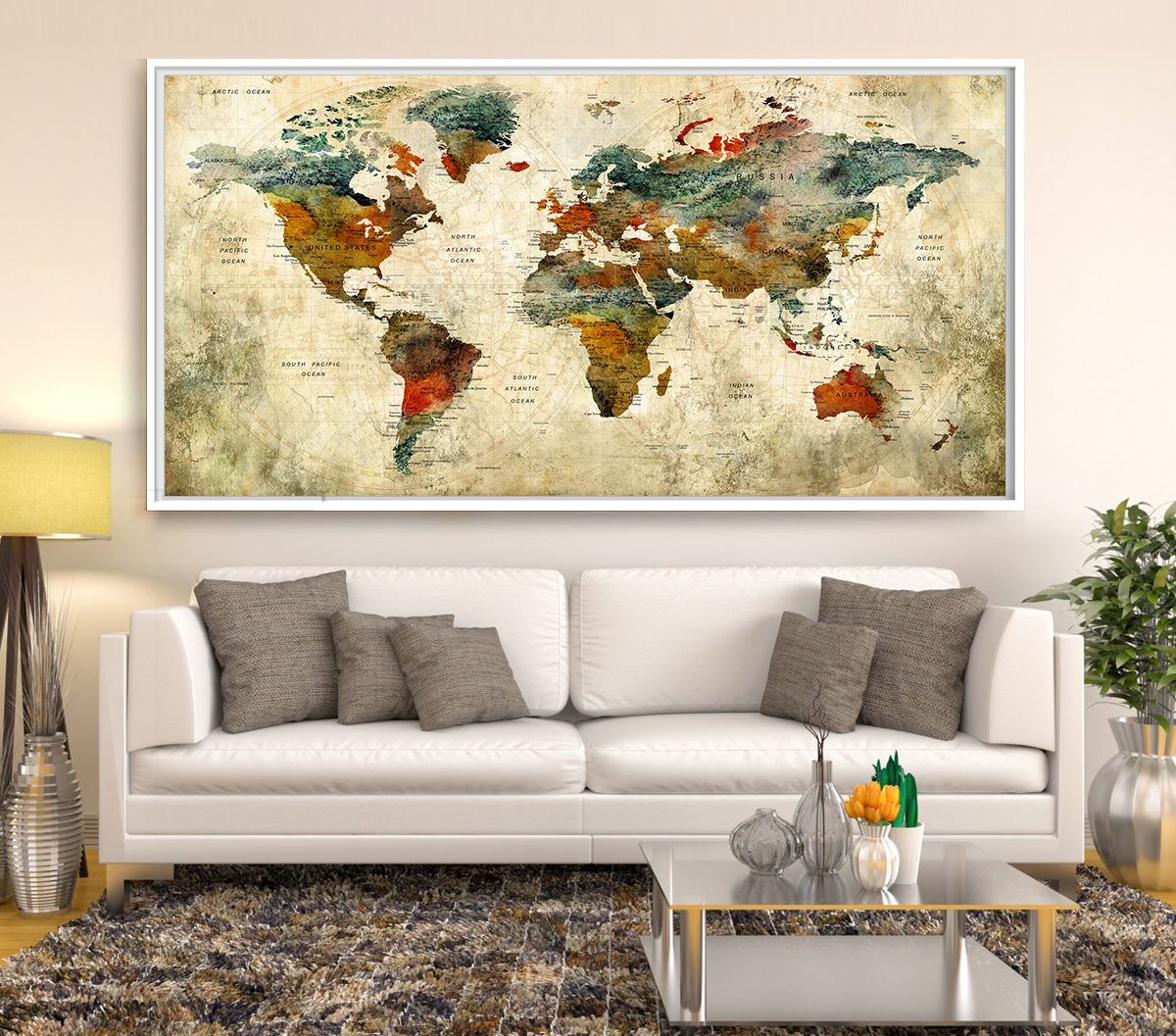 World map push pin art print triptych abstract wall art watercolor world map push pin art print triptych abstract wall art watercolor world map art print extra large world map print world map art l83 by gumiabroncs Gallery