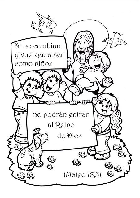 La Catequesis: Dibujos para colorear Jesús con los niños y niñas ...