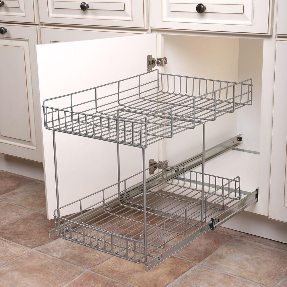 17 In H X 15 In W X 22 In D Half Shelf Pull Out Basket Cabinet