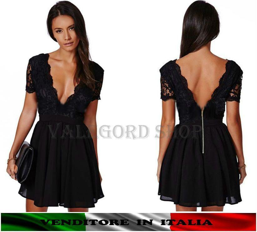 Mini abito NERO vestito corto cocktail pizzo schiena V scollato sera sexy  dress 68434dce36e