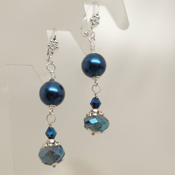 Rich Blue Crystal and Pearl Dangle Earrings by DesignsbyAlladania, $8.00