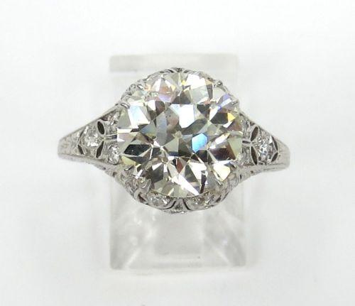 Art Deco 3.54ct Old Mine Cut Diamond Filigree Platinum Ring – Size 6.5 - KL SI1
