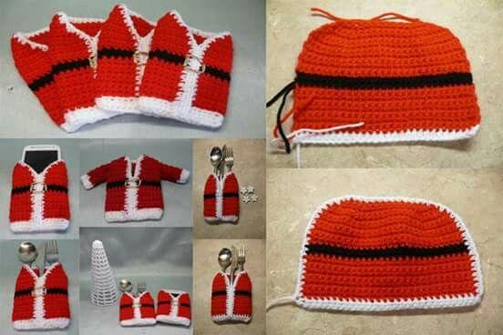 Porta cubiertos navideño en crochet | tejidos navidad | Pinterest ...