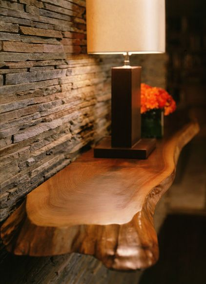Raw Edge Shelf Lamp And Then Your Watercolor The Lamp Would Soften The Lightin Natural Wood Furniture Modern Family Room Design Live Edge Furniture
