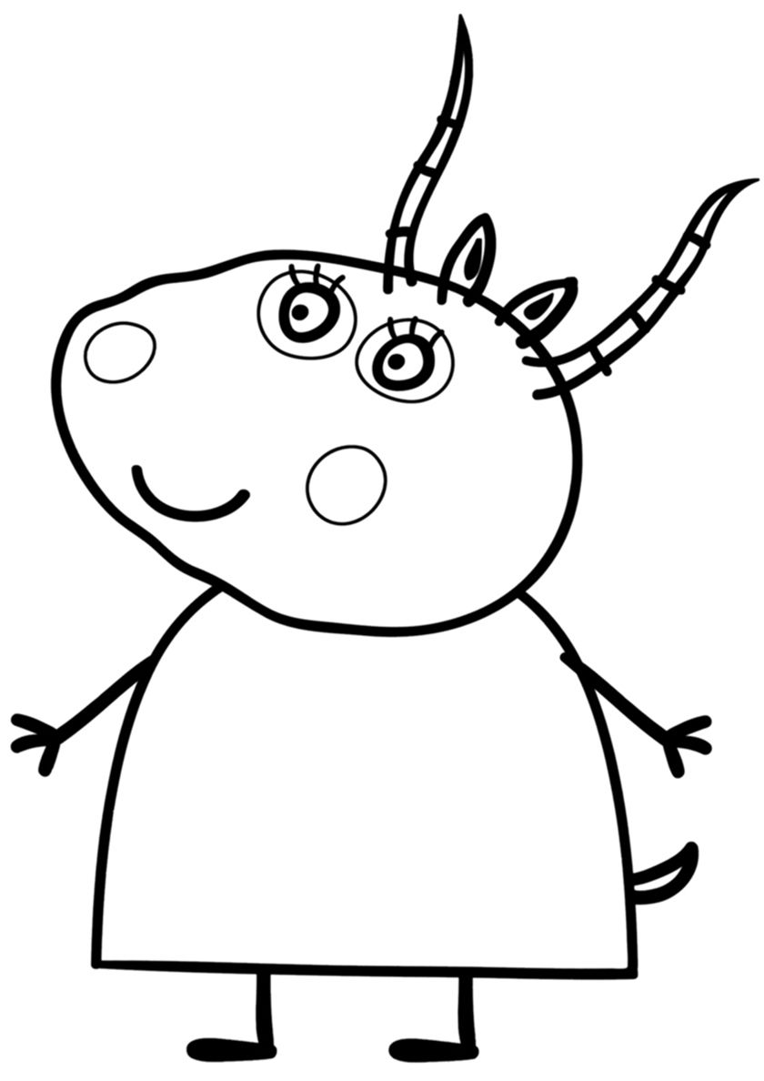 Madame Gazelle Peppa Pig Coloring Pages Cartoon Coloring Pages