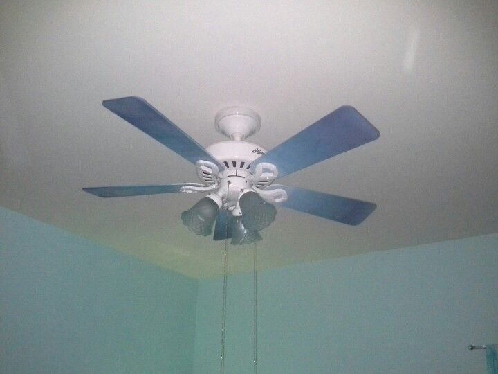 Blue Ombre Ceiling Fan With Modge Podge Sea Glass Light Shades