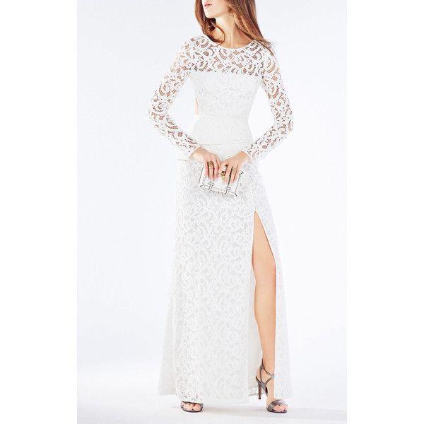 80901dcea6e BCBG Elizabella Cutout Lace Gown ( 468) ❤ liked on Polyvore featuring  dresses