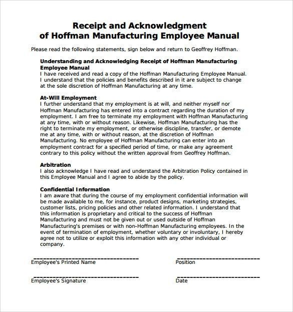 Free Employees Handbook Template Popular Sample Employee
