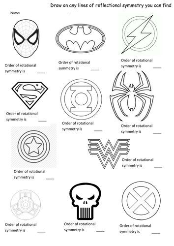 superhero symmetry rotation and reflection worksheet more - Reflection Worksheet