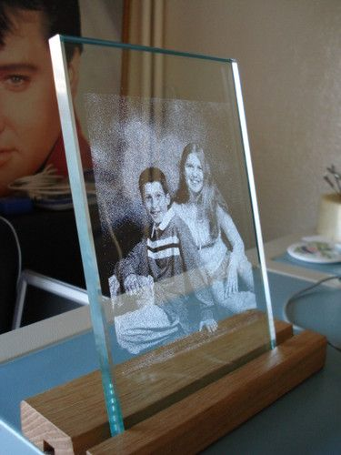 Laser Photo Engraved Into A Glass Plate With Led Wooden