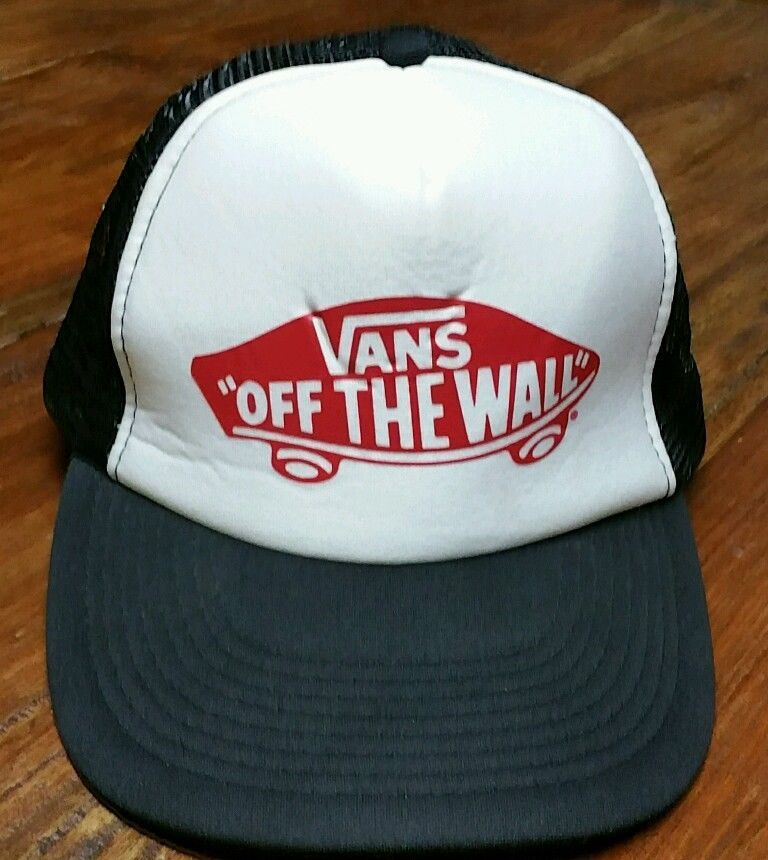 d915201602 Vans Off The Wall Snapback Trucker Hat Cap Black and white skateboarding  vintage  Vans  Trucker