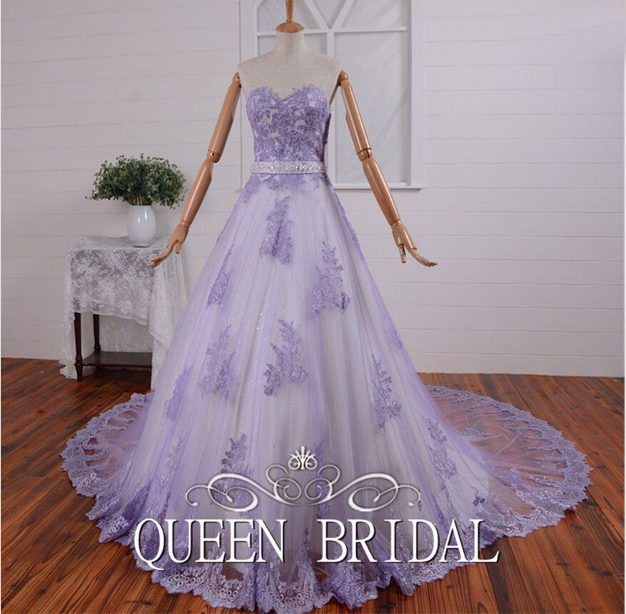 Quality Dress Watches Directly From China Gown Sleeve Suppliers Custom Made Ball Sweetheart Lace Tulle Woman Arabic Wedding Gowns Dubai Lavender