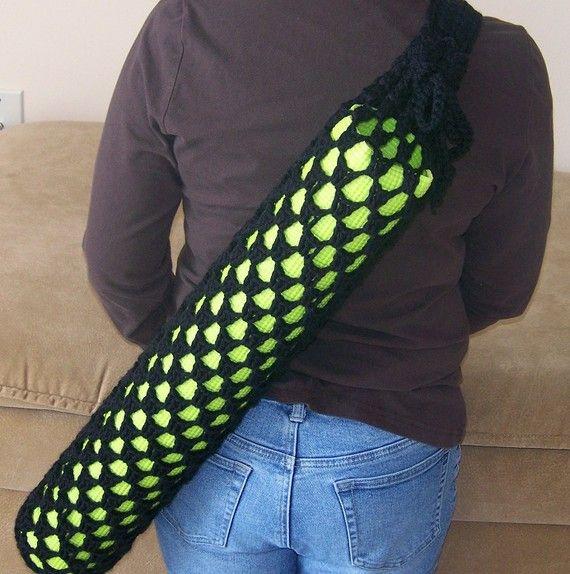 Crochet Yoga Mat Bag Black by DylanaDesigns on Etsy ...