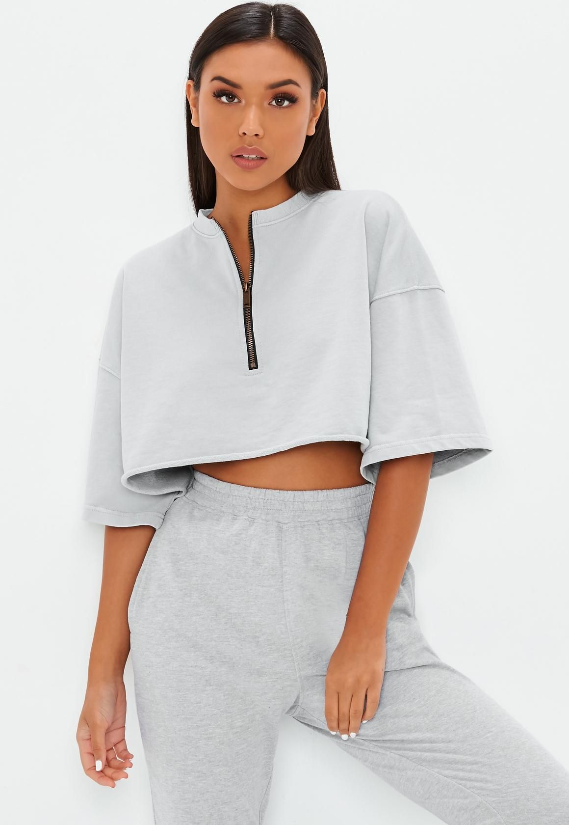 17cba8c529796d Missguided - Grey Zip Boxy Crop Top