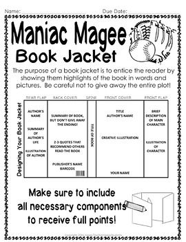 Maniac Magee Project Create A Book Jacket Maniac Magee Book