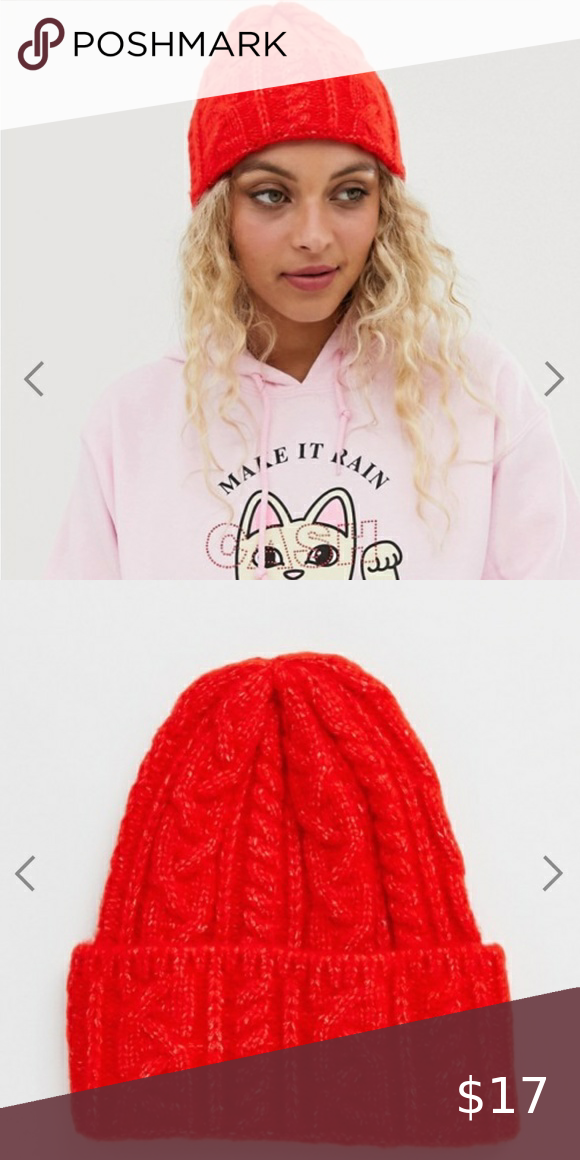 ASOS DESIGN cable knit beanie hat in red