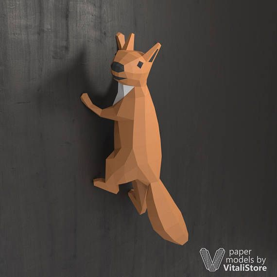 Papercraft Squirrel, Low Polygon Wall Decoration, DIY Gift 3D Paper Animal, Squirrel Art Paper Sculpture, PDF Pattern 3D Origami, Wall Mount is part of Wall decor Paper - VitaliStore If you want to have another dimensions of model, you will change print scale and size of paper   You are not allowed to resell or give PDF template for free to the third parties