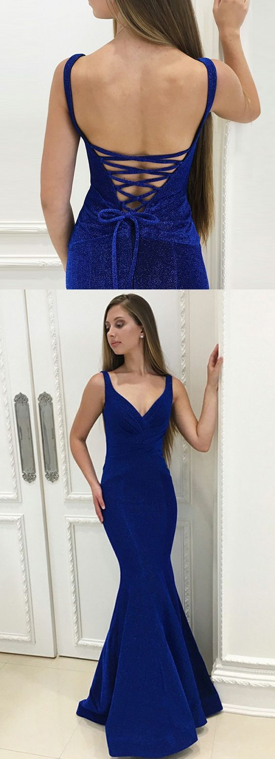 Elegant royal blue mermaid prom dresses stunning v neck lace up