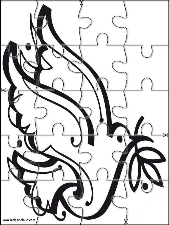 Printable jigsaw puzzles to cut out for kids Peace 10 Coloring