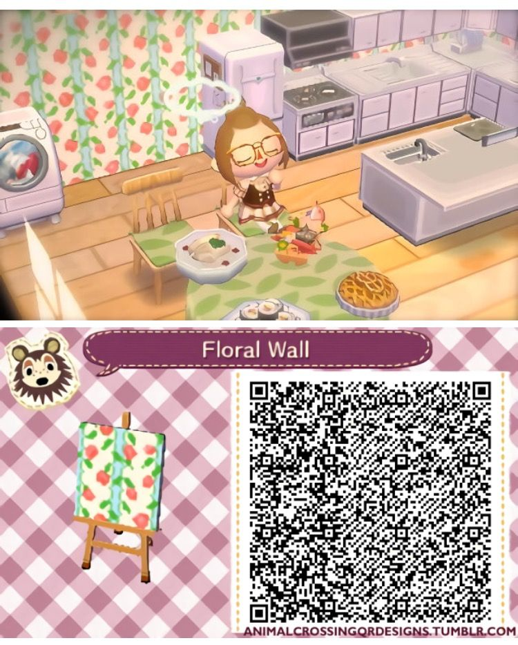 White and Green Floral Wall Animal crossing, Qr codes