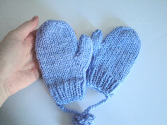 Blue String Mittens size 2 3 4 Hand Knit Toddler by Girlpower