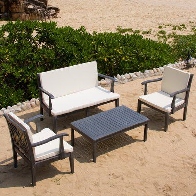 Bradbury 4 Piece Sofa Set with Cushions   Garden sofa set ...