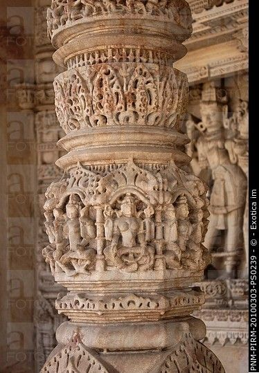 Details of carving on a column in a temple, Swaminarayan