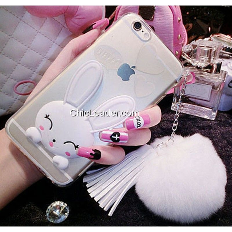 Soft Faux Bunny Fur Ball Rabbit Silicone Skin for iPhone 6 / 6S 4.7inch - Transparent White