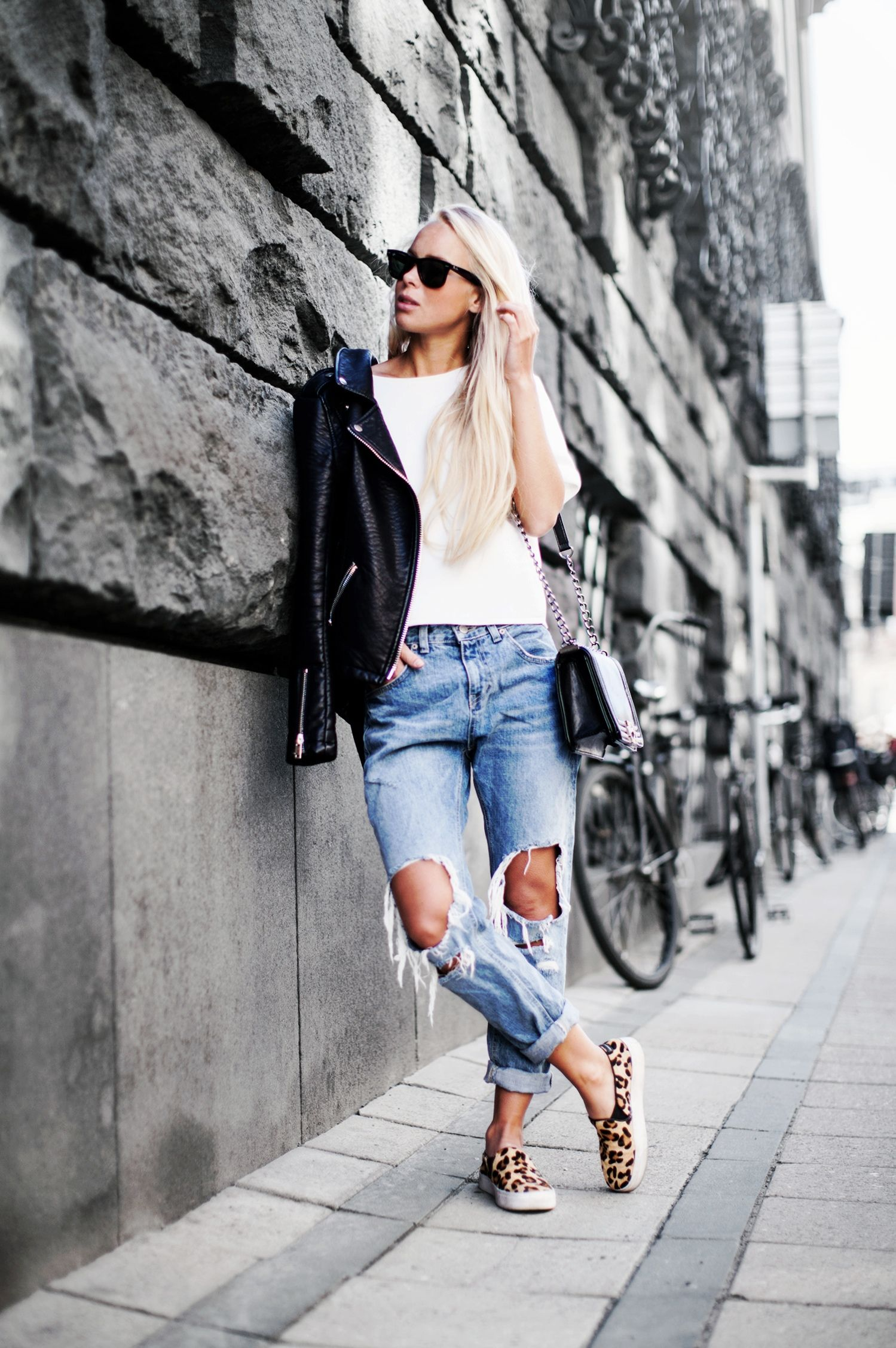 Biker Jacket + Ripped Jeans + Leopard Slip Ons http://imnext.se/victoriatornegren/todays-outfit-146/