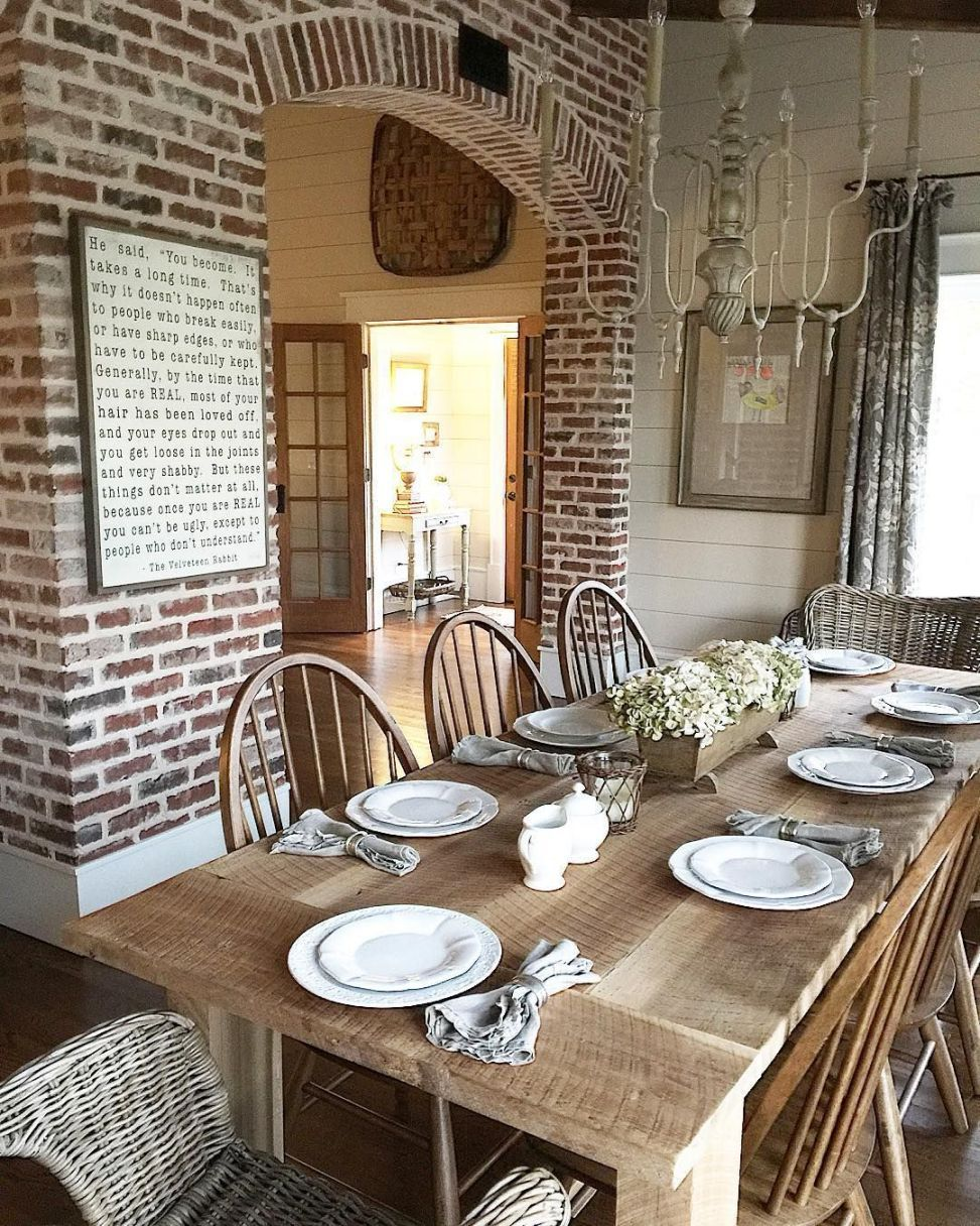 32 Stylish Dining Room Ideas To Impress Your Dinner Guests: Farmhouse Kitchen With New England Fieldstone Accent Wall