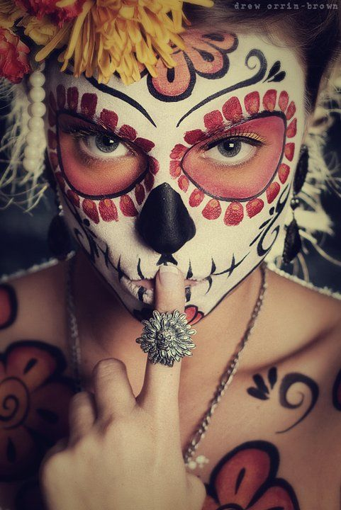 floral sugar skull makeup - Dia De Los Muertos - Day of the Dead