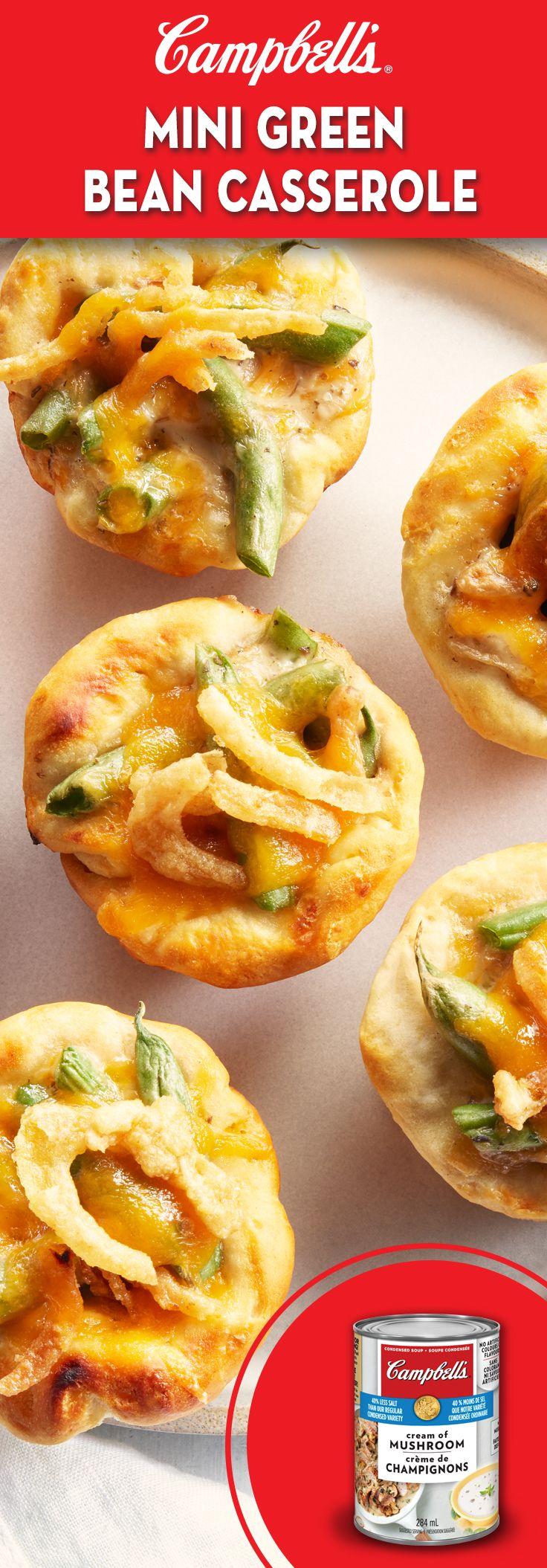 Mini Green Bean Casseroles Recipe Campbells Soup Recipes Veggie Dishes Food Recipes