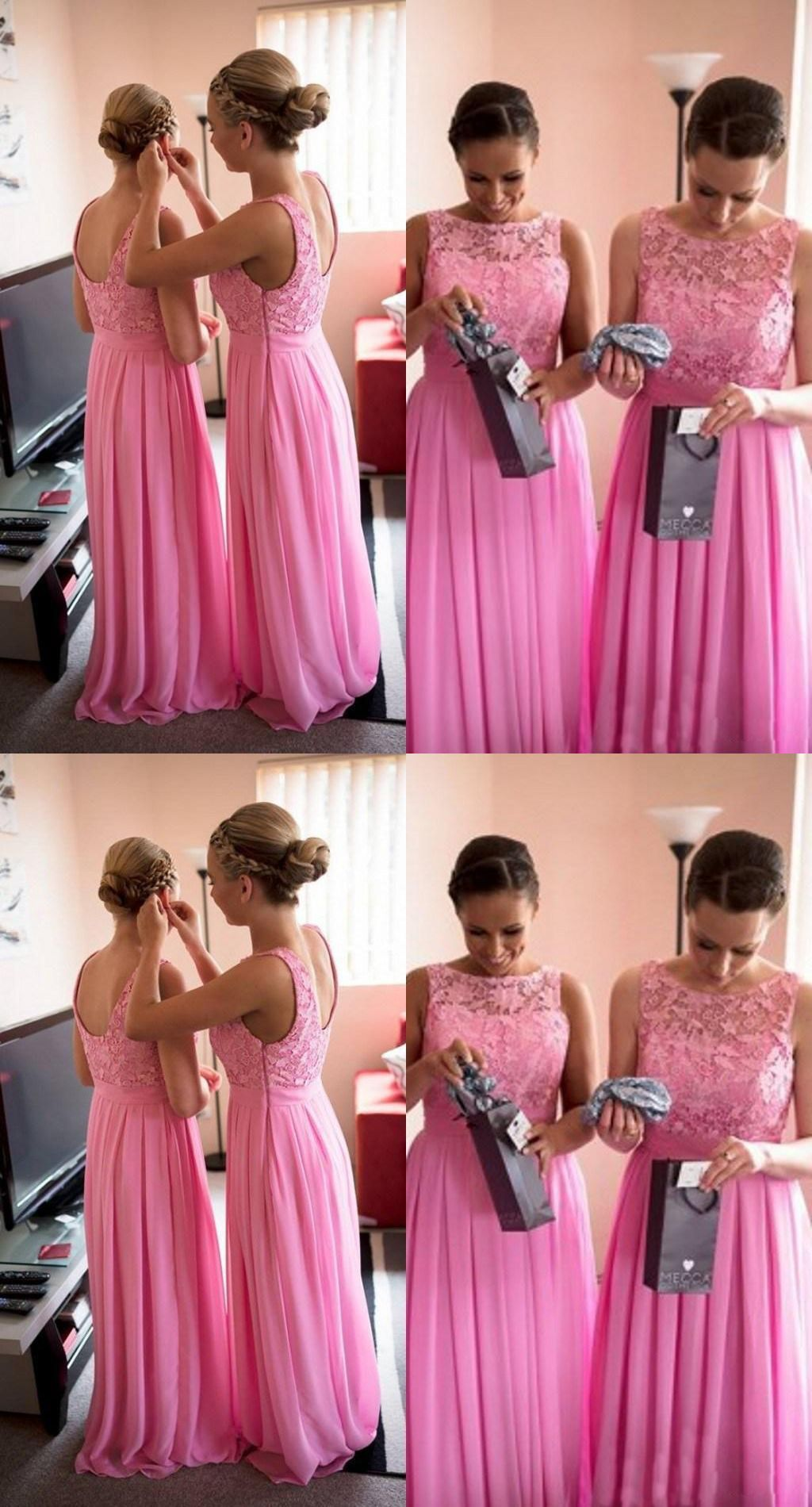 A-line Bateau Sleeveless Floor Length Pink Bridesmaid Dress with ...