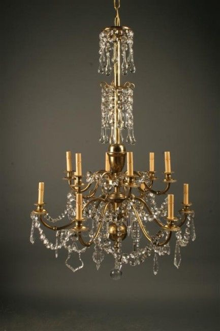 Antique French 12 Arm Brass And Crystal Chandelier Crystal Chandelier Antique Chandelier French Antiques