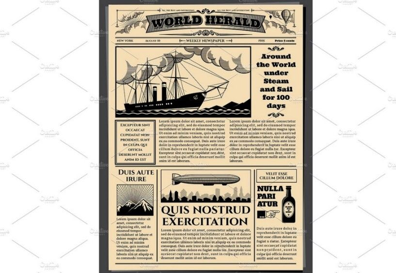 20 Old Newspaper Template Psd Indesign And Ai Format Misc