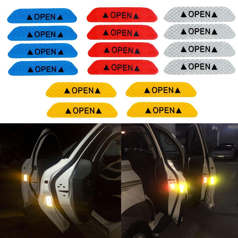 4pcs Car Door Open Sticker Reflective Tape Safety Warning Auto Decal Door Stick
