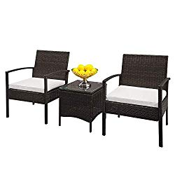 Lovinland Rattan Patio Furniture 3 Piece Outdoor Table And Sofas